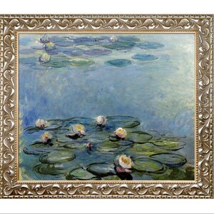 Water Blue/Gray Lilies by Claude Monet Framed Painting Print by Tori Home