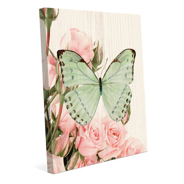 Butterfly and Roses Garden Party Graphic Art on Wrapped Canvas by Click Wall Art