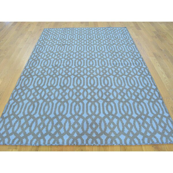 One-of-a-Kind Bland Reversible Handmade Kilim Black Wool Area Rug by Isabelline