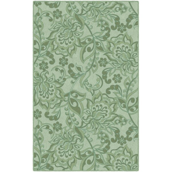 Unique Traditional Floral Green Area Rug by Winston Porter