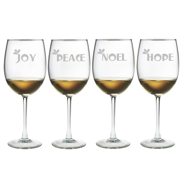 Joy Peace Noel Hope Wine Glass (Set of 4) by Susquehanna Glass
