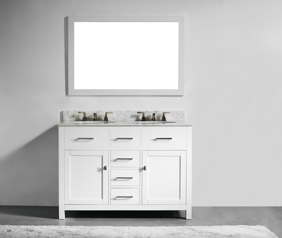 willa arlo interiors sverre 48 quot  double bathroom vanity set 48 Inch Double Sink Bathroom Vanity 48 Double Sink Vanity Top