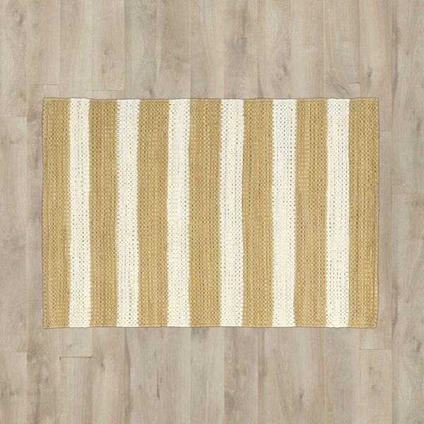 Mayfair Stripe Tan/Cream Area Rug by Breakwater Bay