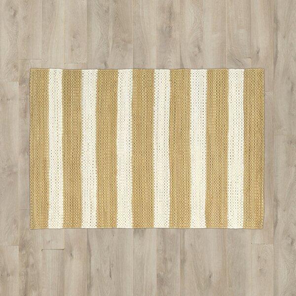 Mayfair Stripe Tan/Cream Area Rug by Breakwater Bay