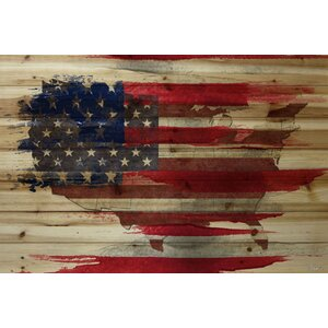 'American Map' by Parvez Taj Painting Print on Natural Pine Wood by Parvez Taj