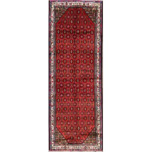Great Price One-of-a-Kind Maag Zanjan Persian Hand-Knotted Runner 3'4 x 9'5 Wool Blue/Burgundy Area Rug By Isabelline