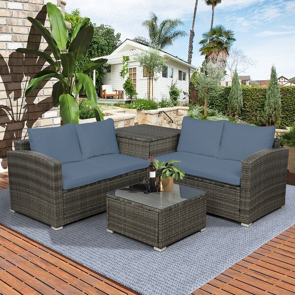 Alyah 4 Piece Rattan Sofa Seating Group with Cushions by Latitude Run