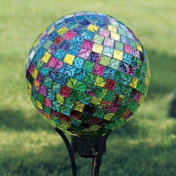 Art Glass Garden Jeweled Hues Hand Painted Mosaic Gazing Globe by Carson Home