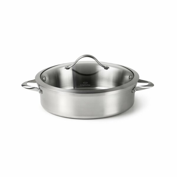 Contemporary Stainless Steel 5-qt. Saute Pan with