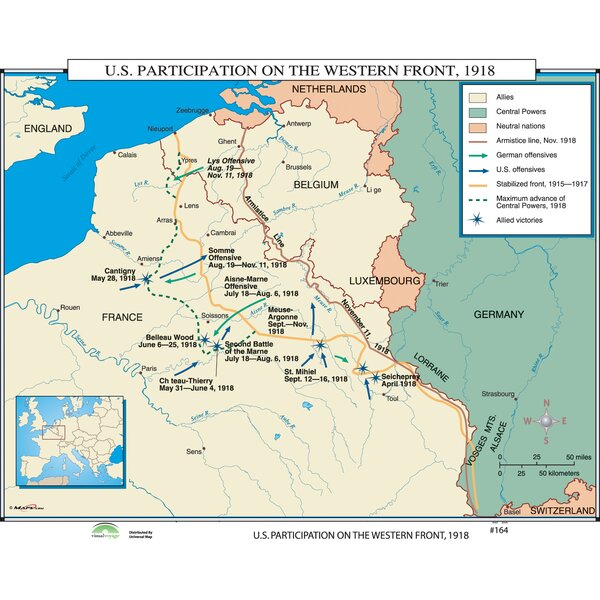 World History Wall Maps - U.S. Participation on Western Front by Universal Map
