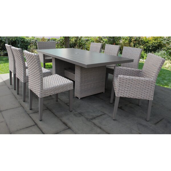Florence 9 Piece Outdoor Patio Dining Set with Cushions by TK Classics