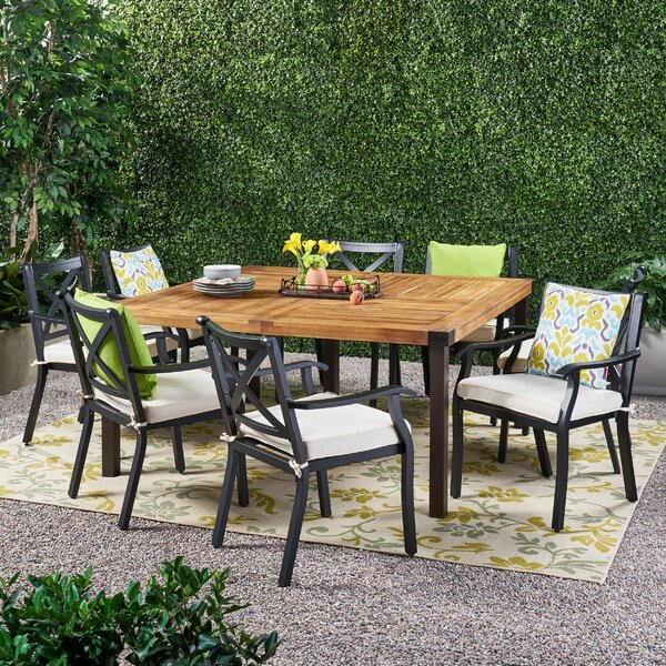 Altamirano Outdoor 9 Piece Teak Dining Set with Cushions by Alcott Hill