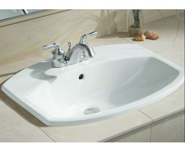 Cimarron Ceramic Rectangular Drop-In Bathroom Sink with Overflow by Kohler