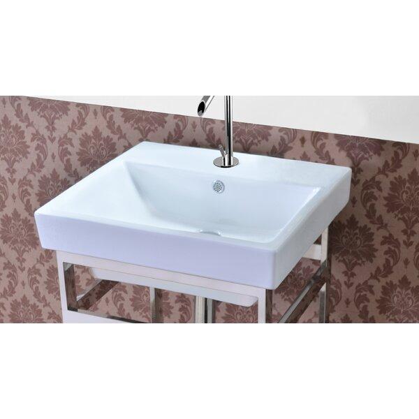Milano Ceramic Rectangular Single Hole Faucet Bathroom Sink with Overflow