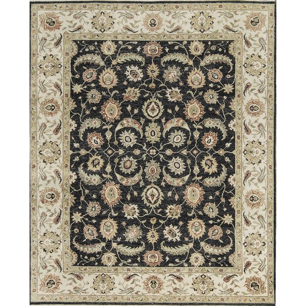One-of-a-Kind Agra Hand-Knotted Wool Black/Ivory Indoor Area Rug by Bokara Rug Co., Inc.