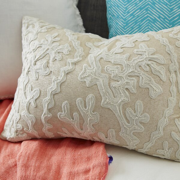 Tara Dori Embroidered Cotton Throw Pillow by Saro