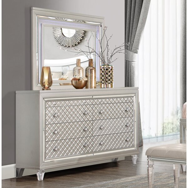 :Lancaster Paris 8 Drawer Double Dresser with Mirror by Rosdorf Park