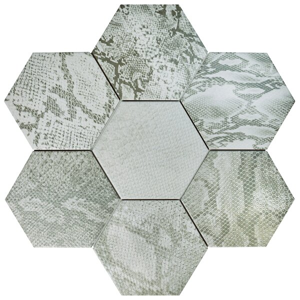 Narra Hex 8.63 x 9.88 Porcelain Field Tile in Gray Mix by EliteTile