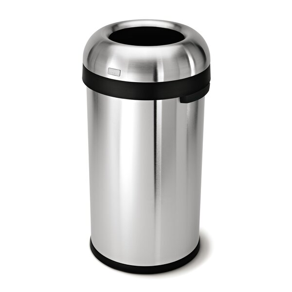 16 Gallon Bullet Open Trash Can, Heavy-Gauge Brushed Stainless Steel by simplehuman
