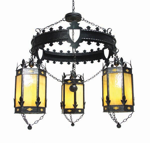 Valhalla 3 - Light Shaded Wagon Wheel Chandelier by 2nd Ave Design 2nd Ave Design
