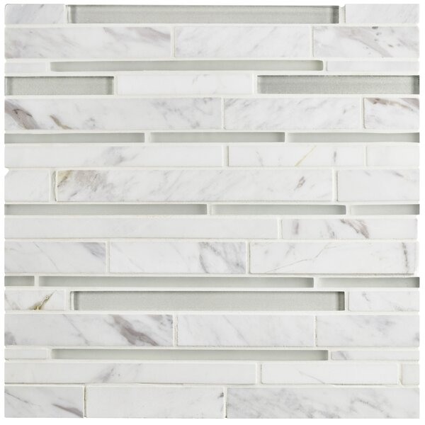 Sierra Grand Piano Random Sized Glass and Marble Mosaic Tile in White Carrara by EliteTile