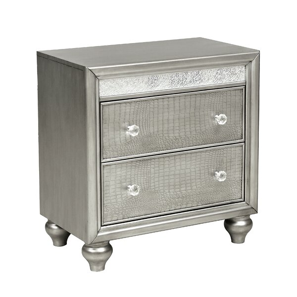 Hayle Mirror Trim 2 Drawer Nightstand by Rosdorf Park