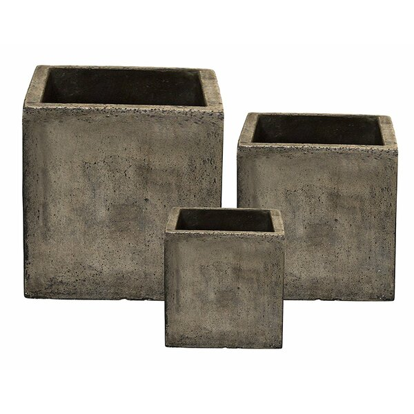 Cube 3-Piece Composite Planter Box Set by Happy Planter