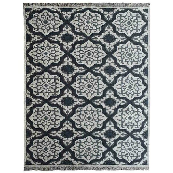 Tullos Sumak Geometric Hand-Knotted Wool White/Charcoal Area Rug by Red Barrel Studio