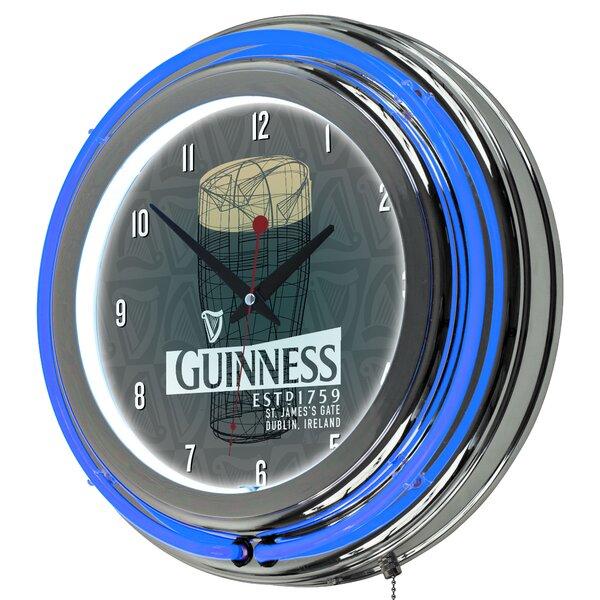 Guinness Line Art Pint Neon 14.5 Wall Clock by Trademark Global