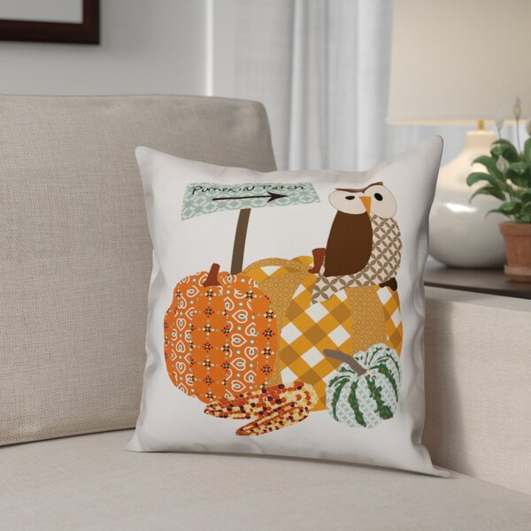 Pumpkin Patch Owl Pillow Cover by The Holiday Aisle