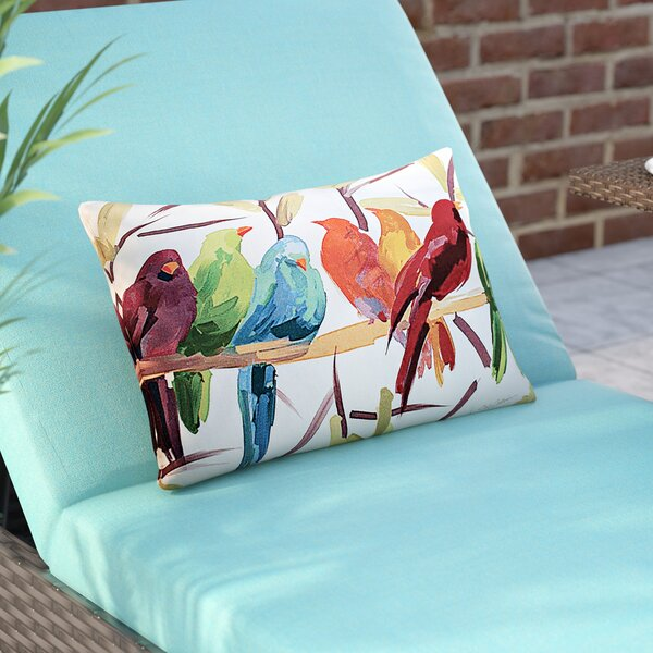 Thornaby Flocked Together Birds Indoor/Outdoor Lumbar Pillow by Brayden Studio