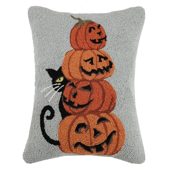 Mckellar Cat with Pumpkins Hook Wool Lumbar Pillow by The Holiday Aisle
