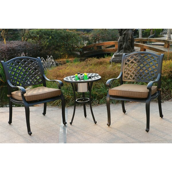 Ballesteros Aluminum 3 Piece Bistro Set with Cushions by Canora Grey