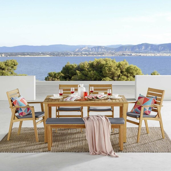 Gowins Outdoor 6 Piece Dining Set with Cushions by Highland Dunes