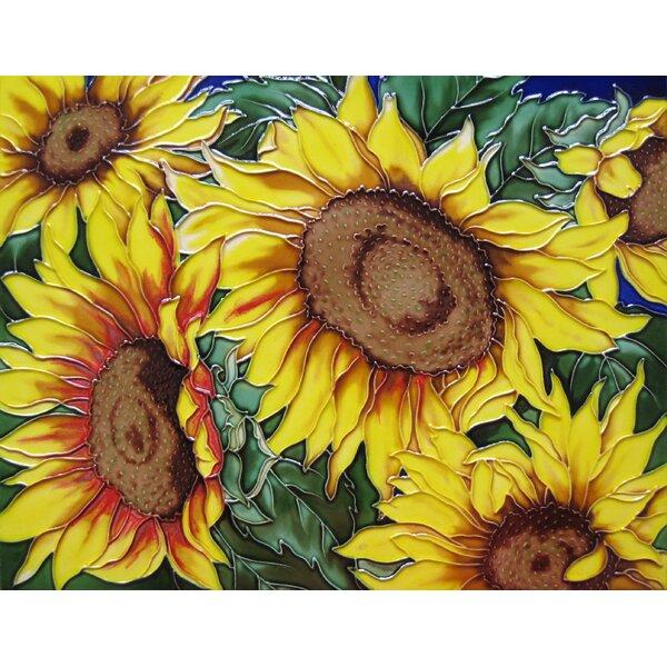 11 x 14 Ceramic 6 Sunflowers Decorative Mural Tile by Continental Art Center