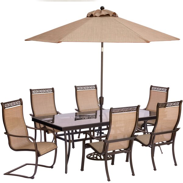 Bucci 7 Piece Dining Set with Umbrella and Stand by Fleur De Lis Living