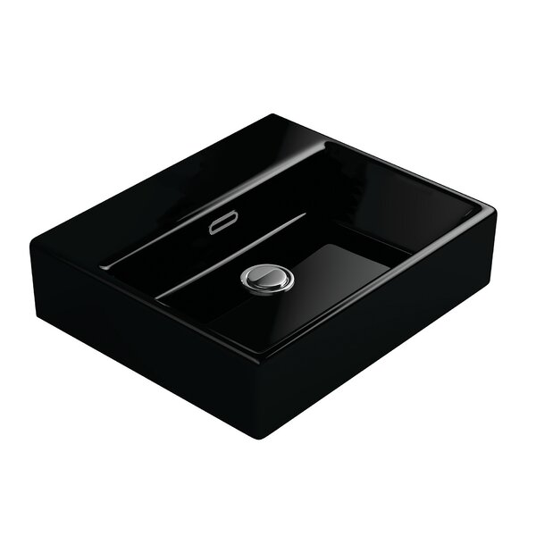 Quattro Ceramic Rectangular Vessel Bathroom Sink with Overflow by WS Bath Collections