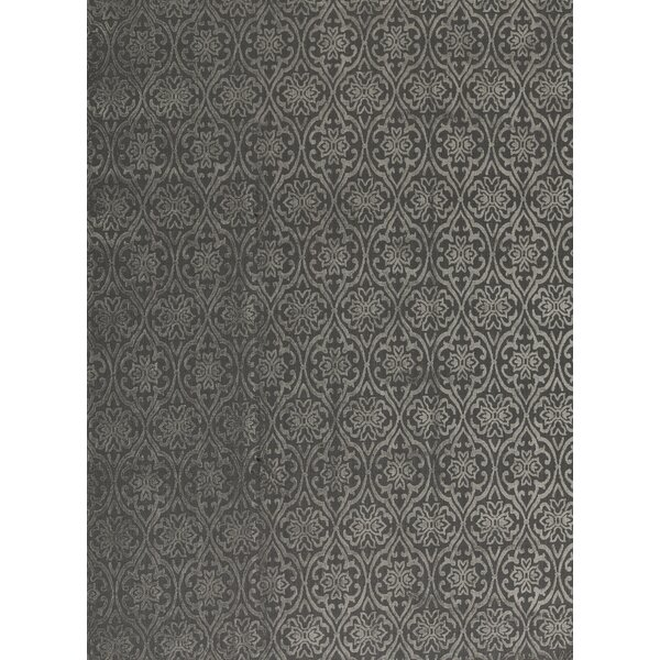 Jakat Damask Hand-Knotted Wool Gray Area Rug