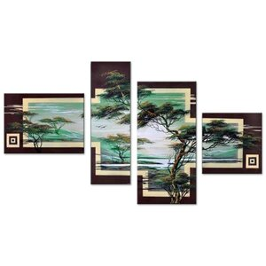 Modern African Landscape Tree 4 Piece Painting on Canvas Set by Design Art