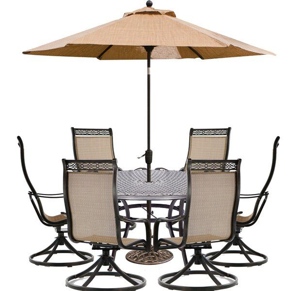 Borger 7 Piece Dining Set with Umbrella by Three Posts