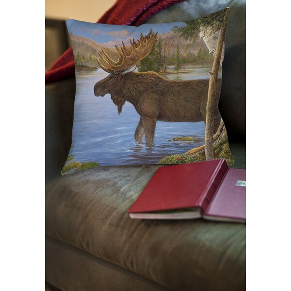Majestic Moose Printed Throw Pillow by Manual Woodworkers & Weavers