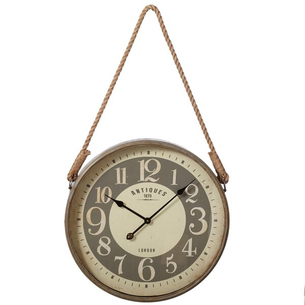 23.5 Wall Clock with Rope Hanger by August Grove