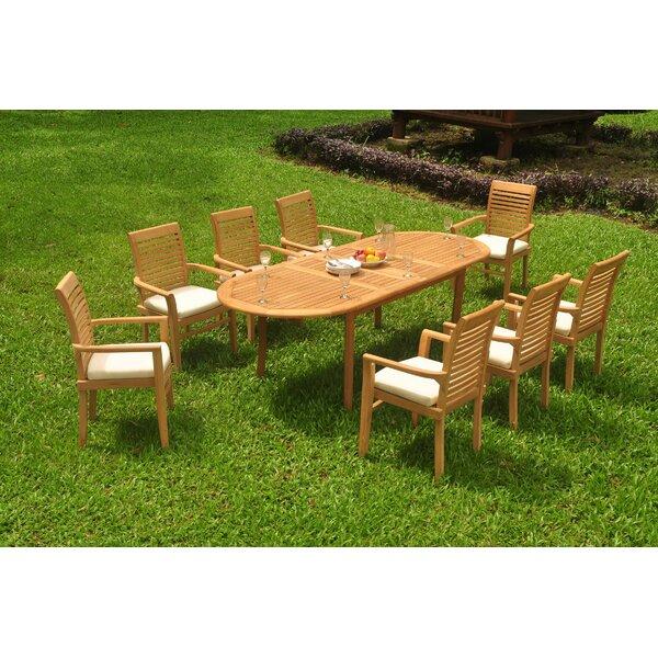 Garlington 9 Piece Teak Dining Set by Rosecliff Heights