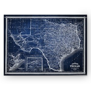 'Vintage Map Texas' Graphic Art Print on Wrapped Canvas in Blue by Wexford Home