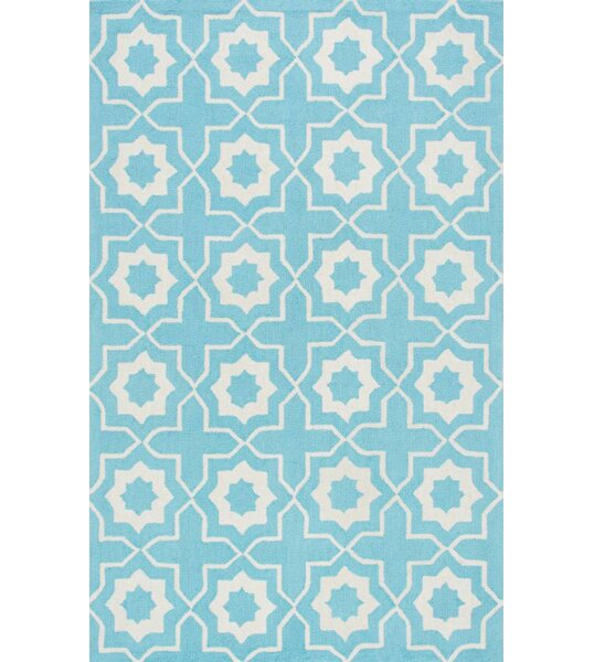 Lester Super Bold Hand-Hooked Light Turquoise/White Area Rug by Darby Home Co