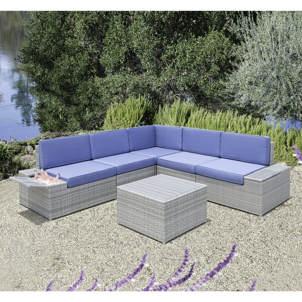 Ceasar 6 Piece Rattan Sectional Seating Group with Cushions by Longshore Tides