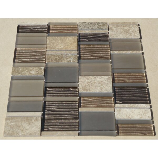 Loft Random Sized Marble and Glass Mosaic Tile in Glossy Gray by Mulia Tile