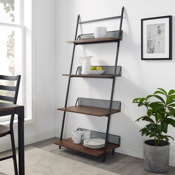 Bennington Industrial Metal and Wood Ladder Bookcase by Williston Forge