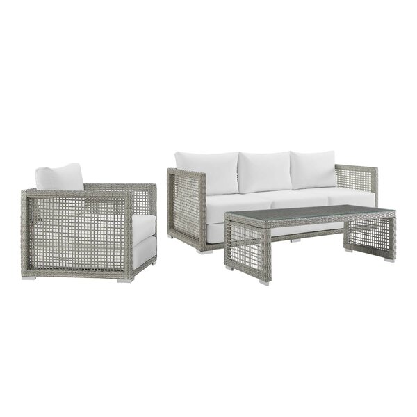 Cassiopeia 3 Piece Rattan Sofa Seating Group with Cushions by Highland Dunes