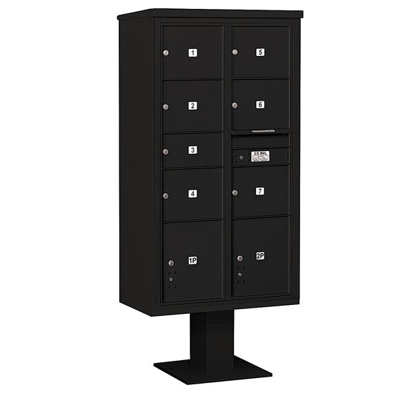 Pedestal Mounted 7 Units 10 Door Front Load 4C Horizontal Cluster Box Unit with 2 Parcel Lockers by Salsbury Industries